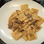 Paccheri à la chair de saucisse Toscane et crème de truffes
