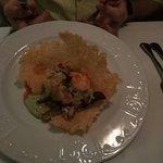 "Shrimp ""taco"" on a parmesan crisp"