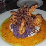 shrimpt with purple potato mash with cilantro oil and maui spicy sauce