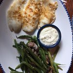 Grilled perch lunch with green beans and mushrooms