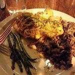 Halibut, Green Beans, Brown Rice, Saute Leeks