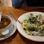 Dinner comes with soup and Salad