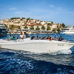 Our speed boat in the port of Hvar