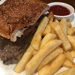 Sirloin Steak Burger with Bacon, Cheese, Lettuce, Tomato on Turkish Bread $19.00