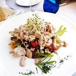 Octopus Salad ''Kaštel'' with black olive sauce.