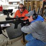 Shooting at a target 600 yards away.