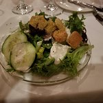 Perfect size starter salad for someone saving room for the meal ahead
