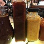 Blueberry BBQ, Bourbon BBQ, Horseradish Mustard and Hot Sauce