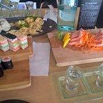 our meal with sashimi, 3 way saki, awesome tempura prawns