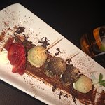 Unreal Lebanese chicken kebab. Must try it! We even to complementary chocolate truffles as me an