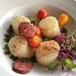Fresh scallops served with chorizo and fresh herbs