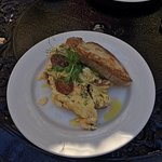 Eggs, scrambled, with grilled chorizo