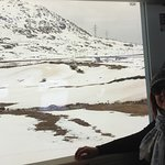 Uma viagem encantadora de trem subindo aos Alpes Suiços.