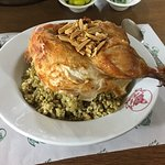 Half Roast chicken with rice and lentils