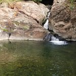 Waterfall and pool we hiked/climbed down to. Water was really cold.