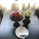 Welcome fruit and flower arrangement in the room