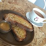 Lovely sourdough bread toasts with honey and a big cup of tea. A great way to start the day.