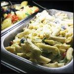 Bar snack, pasta salad
