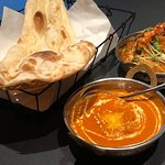 Butter Chicken and Prawn Masala Curry, and Naan