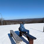 "Snowboard bench ""North Peak"" area."