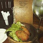 Fish Croquette, purple ravioli, greek salad, spaghetti seafood....