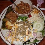 Plate of food from the salad bar