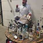 Chris giving tour and info about ingredients in their gin.