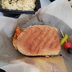 Buffalo chicken panini and mac and cheese