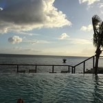 The infinity pool and the Caribbean sea