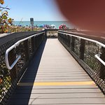Ramp to beach with handrails