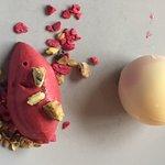 Dessert - White Chocolate, Pistachio and raspberry