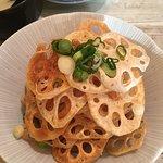 Deep fried lotus root salad