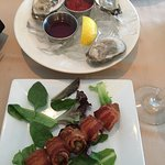 oysters and bacon olives