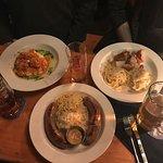 Left to Right: Klopse, Bratwurst, Veggie Trio