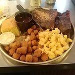 1/2 Rack ribs, fried okra, mac n cheese, corn bread with honey butter.