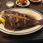 Broiled flounder and captain's seafood platter