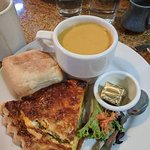 Asparagus quiche with a cup of sweet potato bisque