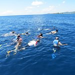 Our group of 17 was divided in two. We each had our own guide in the water.