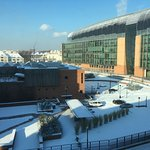 Snowy Day in Midland Road; Francis Crick Institute on right, - rear of British Library on left.