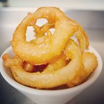 Homemade vegan friendly beer battered onion rings