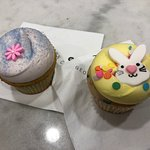 Lavender and Early Grey Cupcake with an Easter Bunny Face cupcake.