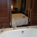 Our room on the 27th floor. The far door leads to the balcony.
