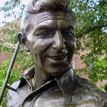 The bronze statue of Andy Griffith as Sheriff Taylor captures the actor's charisma.