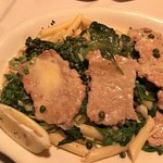 Veal picatta served on penne with capers, great flavor