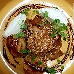 Pan Seared Scallops, Hoi Sin Pork, Coconut Cream, Toasted Seasame