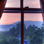 Window view of the Blue Ridge Mountain from between the Gold and Sapphire rooms.