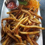 House-made bison burger with fries