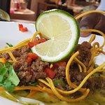 Thai spicy pork  on rice noodles bowl