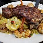 NY strip steak with scallops & shrimp! On a bed of rice, so yummy! $29