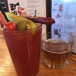 Bacon Bloody Mary served with a Spotted Cow chaser